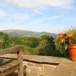 Bench with glorious views of Black Mountains and Crickhowell